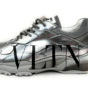 Valentino Men's Gray Vltn Bounce Metallic Leather